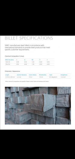 Steel billets 150,000 t min