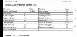 Copper cathodes 100 mt trial 500-15,000 mt/m